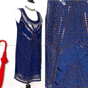 New Alya Navy Sequin & Beaded Dress Sz S